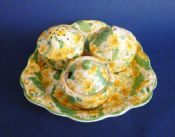 Scarce Crown Ducal 'Primula' Chintz 3 Piece Cruet and Stand c1928